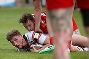 Bradford Bulls full back Ethan Ryan (2) is tackled during the Kingstone Press Championship match between Dewsbury Rams and Bradford Bulls at the Tetley's Stadium, Dewsbury, United Kingdom on 10 September 2017. Photo by Simon Davies.