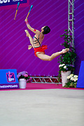Zhao Yating during the qualifiction clubs at World Cup Pesaro 2018. Zhao Yating was born in may 12, 2001 in Shanxi, she is a Chinese individual rhythmic gymnast.
