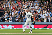 100 - Ben Stokes of England salutes the crowd who are giving him a standing ovation as he celebrates scoring a century during the International Test Match 2019 match between England and Australia at Lord's Cricket Ground, St John's Wood, United Kingdom on 18 August 2019.