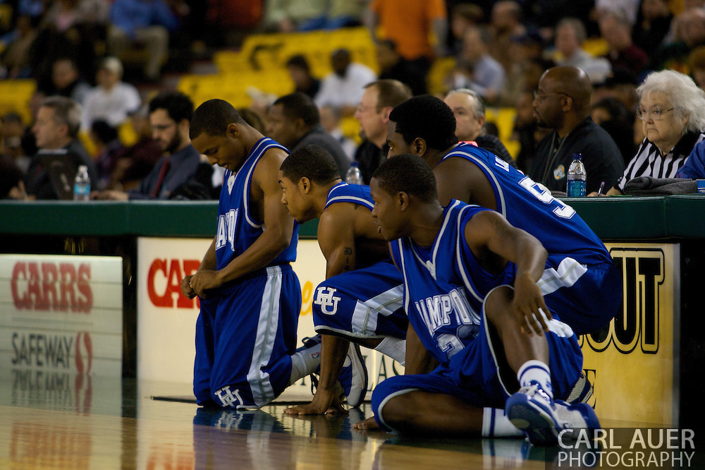 November 26, 2008: Hampton players wait for a dead ball to enter play in the opening game of the 2008 Great Alaska Shootout at the Sullivan Arena against the University of Alaska-Anchorage Seawolves.