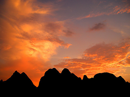 A fiery sunset afterglow near Yangshuo.