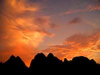 A fiery sunset afterglow near Yangshuo.