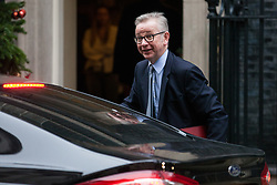 London, UK. 6th December, 2018. Michael Gove MP, Secretary of State for Environment, Food and Rural Affairs, arrives at 10 Downing Street for a special Cabinet meeting called to discuss the latest developments regarding Brexit.