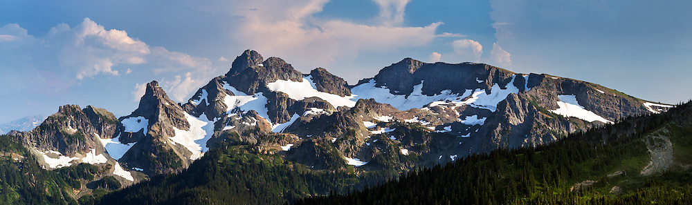 The Cowlitz Chimneys and Sarvant Glaciers at Mount Rainier National Park in Washington State, USA.  Photographed from the Silver Forest Trail in the Sunrise area of the park.