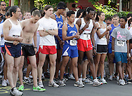 Middletown, New York - Runners wait for the start of the 15th annual Ruthie Dino Marshall 5K Run and Fun Walk hosted by the Middletown YMCA on Sunday, June 5,  2011.