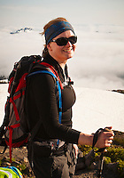 Portrait of a young woman climber on Mount Rainier.