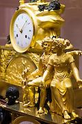 Kunsthandwerk-Museum Francois Duesberg, Detail einer Empire-Uhr, Mons, Hennegau, Wallonie, Belgien, Europa | Decorative Arts Museum Francois Duesberg, Mons, Hennegau, Wallonie, Belgium, Europe