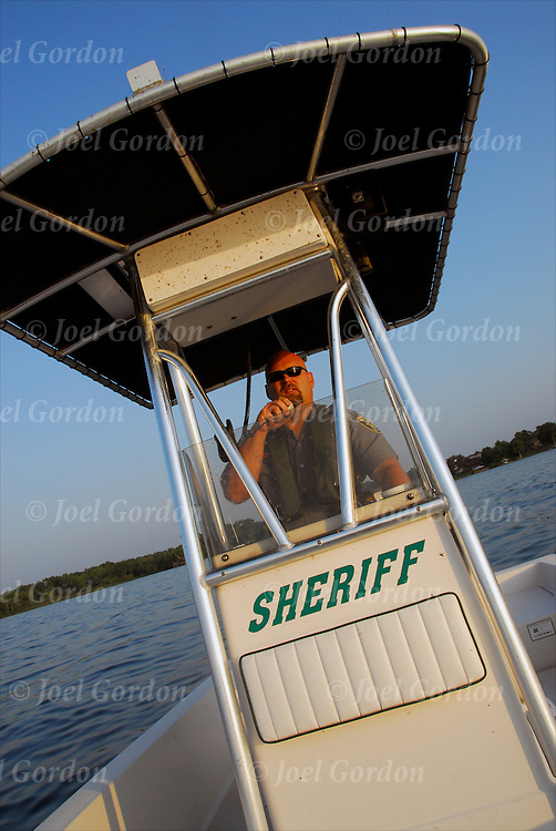 Community Service Deputy on Sheriff?s boat observing river traffic for careless operation of vessels on ther St.Johns River for the Putnam County Sheriff?s Office FL