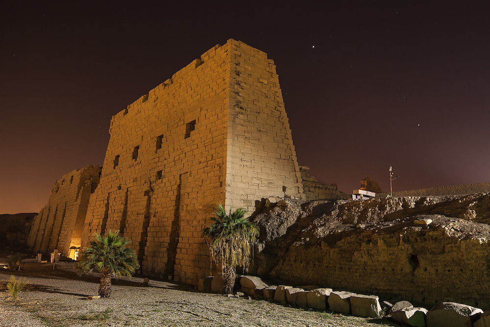 EGYPT. Luxor. December 26th, 2013. A night time view of the entrance to the Karnak Temple complex. With some ruins over 5,000 years old, it is also the largest ancient religious site in the world.