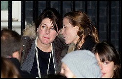 The Prime Minister David Cameron's Press Secretary Gabby Bertin and David Cameron's Deputy Chief of Staff Catherine Fall as he Turns on the Downing Street Christmas lights with the x factor Finalist, Monday December 3, 2012. Photo by Andrew Parsons / i-Images