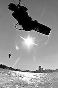 GOLD COAST, AUSTRALIA - SEPTEMBER 20:  Sean Hammill during a freestyle kiteboarding session at Currumbin Alley on September 20, 2011 on theGold Coast, Australia.  (Photo by Matt Roberts/Getty Images) *** Local Caption *** Sean Hammill