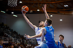 Kalogiros  Andreas of Greece vs Scuka  Luka of Slovenia during basketball match between National teams of Greece and Slovenia in the Group Phase C of FIBA U18 European Championship 2019, on July 29, 2019 in  Nea Ionia Hall, Volos, Greece. Photo by Vid Ponikvar / Sportida