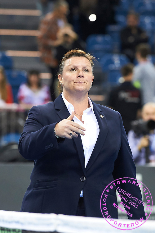 British chair umpire Alison Hughes (former Lang) during First Day of the Fed Cup / World Group 1st round tennis match between Poland and Russia at Tauron Krakow Arena on February 7, 2015 in Cracow, Poland.<br /> <br /> Poland, Cracow, February 7, 2015<br /> <br /> Picture also available in RAW (NEF) or TIFF format on special request.<br /> <br /> For editorial use only. Any commercial or promotional use requires permission.<br /> <br /> Adam Nurkiewicz declares that he has no rights to the image of people at the photographs of his authorship.<br /> <br /> Mandatory credit:<br /> Photo by &copy; Adam Nurkiewicz / Mediasport