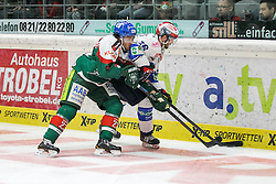 02.11.2014, Curt-Frenzel-Stadion, Augsburg, GER, DEL, Augsburger Panther vs Schwenninger Wild Wings, 16. Runde, im Bild l-r: im Zweikampf, Aktion, mit Louie Caporusso #23 (Augsburger Panther) und MacGregor Sharp #16 (Schwenninger Wild Wings) // during Germans DEL Icehockey League 16th round match between Augsburger Panther and Schwenninger Wild Wings at the Curt-Frenzel-Stadion in Augsburg, Germany on 2014/11/02. EXPA Pictures © 2014, PhotoCredit: EXPA/ Eibner-Pressefoto/ Kolbert<br /> <br /> *****ATTENTION - OUT of GER*****