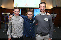 REPRO FREE***PRESS RELEASE NO REPRODUCTION FEE***<br /> Irish Sailing Awards, Royal College of Surgeons, Stephen's Green, Dublin 4/2/2016<br /> National Yacht Club sailor Liam Shanahan was named the 2015 Irish Sailor of the Year today at the Irish Sailing Awards in Dublin - Shanahan had a remarkable year, including victory in the Dun Laoghaire to Dingle race in June on his boat Ruth with two miles to spare.<br /> Kilkenny's Doug Elmes and Malahide's Colin O'Sullivan jointly took home the Irish Sailing Association (ISA) Youth Sailor of the Year award. The Howth Yacht Club sailors were hotly tipped following their recent Bronze medal success at the 2015 Youth World Championships in Malaysia, where they took Ireland's first doublehanded youth worlds medal in 19 years.<br /> The Mitsubishi Motors Sailing Club of the Year award was presented to the Royal Irish Yacht Club in honour of their success at local, national and international level.<br /> Mullingar Sailing Club took home the ISA Training Centre of the Year award, having been nominated as winners of the western-region Training Centre of the Year.<br /> Pictured is  Colin O'Sullivan, Doug Elmes and Ewan McMahon (Youth Sailor of the Year Nominees)<br /> Mandatory Credit ©INPHO/Cathal Noonan
