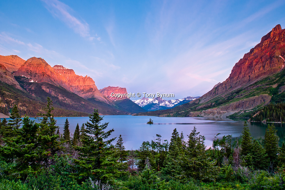 wild goose island, glacier national park, dramatic colors and sky, summer, crown of the continent, montana, usa