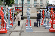 ActionAid's International Safe Cities for Women Day at Marble Arch, with an interactive exhibition featuring a group of 30 mannequins, London.<br /> Picture date: Thursday May 19, 2016. A third of the mannequins featured in the installation will be marked in red, to represent the one in three women who experience violence in their lifetimes. But behind every statistic is a real woman, and on each mannequin are quotes from women around the world telling their experience of urban violence and the stories behind the statistics. ActionAid is campaigning for the UK government to commit to increasing the proportion of aid going directly to women's groups working on the frontline in poor communities. (photo by Andrew Aitchison ActionAid)