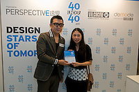 Fashion designer Eva Cheng receives her 40 Under 40 Perspective magazine award.