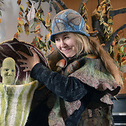 Sarah Granskou, artist in residence at Kitchener City Hall, holds the Jack in the Pulpit puppet she created. Granskou combines felting and puppetry to educate people about the natural history of this area. <br /> <br /> IAN STEWART / SPECIAL TO THE RECORD
