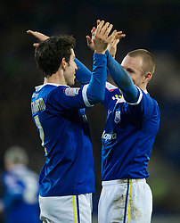 CARDIFF, WALES - Tuesday, February 14, 2012: Cardiff City's Peter Whittingham celebrates scoring the first goal against Peterborough United with team-mate Kenny Miller during the Football League Championship match at the Cardiff City Stadium. (Pic by David Rawcliffe/Propaganda)