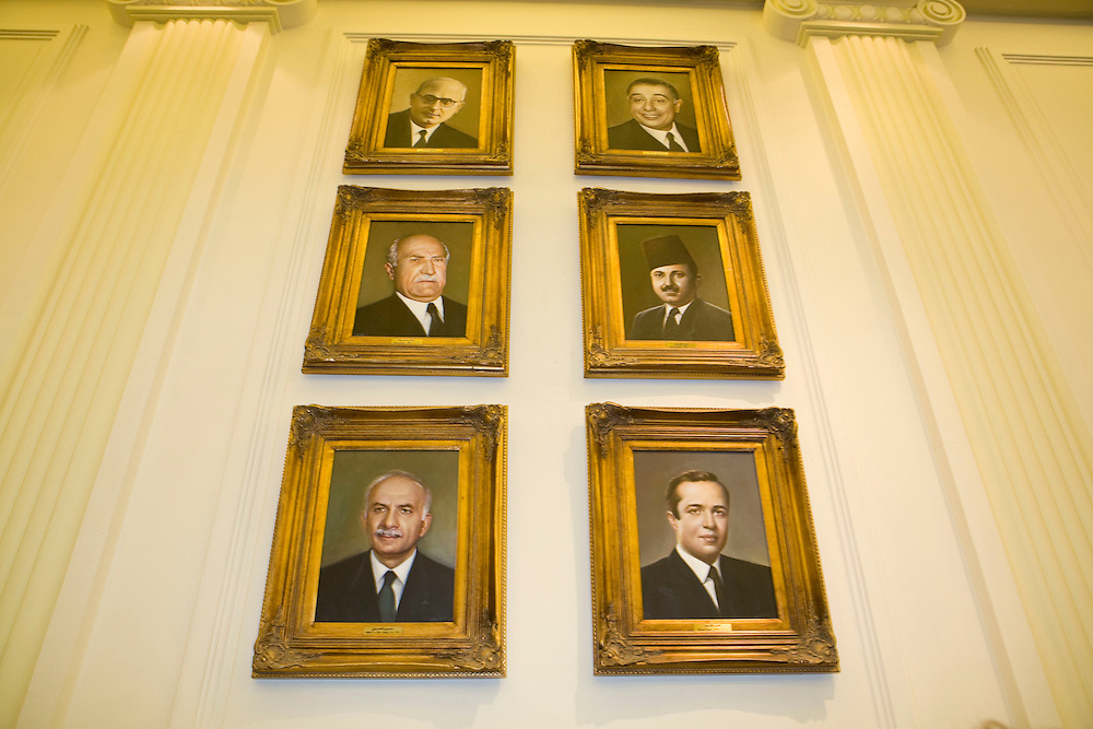 Portraits of former Lebanese leaders inside the parliament building.