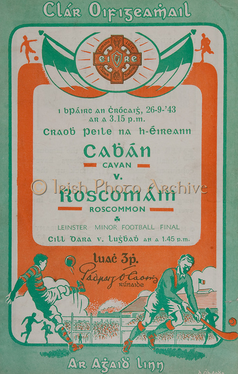 All Ireland Senior Football Final, Cavan v Roscommon, 26.09.1943, 09.26.1943, 26th September 1943, Roscommon 2-07 Cavan 2-02, 10101943AISFCF,
