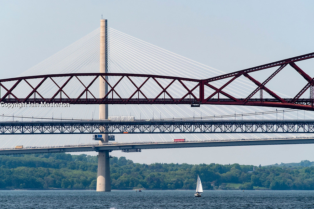 View of the three bridges crossing the Firth of Forth at South Queensferry , Scotland, UK