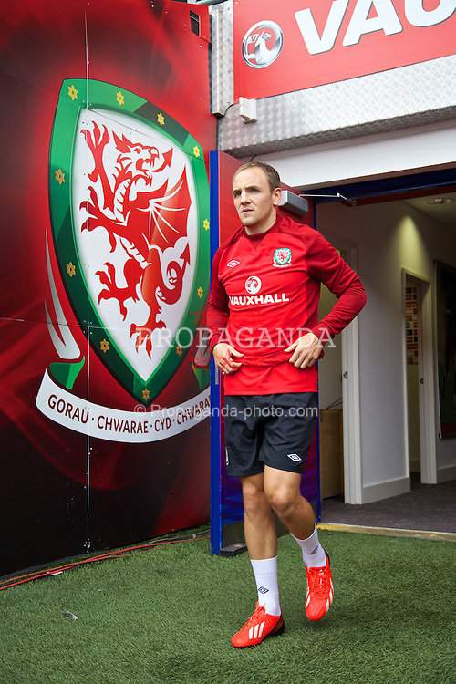 CARDIFF, WALES - Tuesday, August 13, 2013: Wales' David Vaughan during a training session at the Cardiff City Stadium ahead of the International Friendly match against the Republic of Ireland. (Pic by David Rawcliffe/Propaganda)