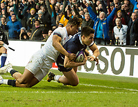 EDINBURGH, SCOTLAND - FEBRUARY 24:  Scotland's Sean Maitland dives over the line to score his side's 2nd try during the 6 Nations clash between Scotland and England  at BT Murrayfield on February 24, 2018 in Edinburgh, Scotland. (Photo by MB Media/Getty Images)
