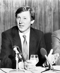 File photo dated 07-11-1986 of Manchester United's new manager Alex Ferguson (L) at a press conference at Old File photo dated 12-05-1996 of Sir Alex Ferguson. Sir Alex Ferguson has undergone emergency surgery today for a brain haemorrhage, his former club Manchester United have announced.