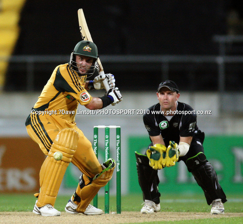 Australia's Mike Hussey bats.<br /> Fifth Chappell-Hadlee Trophy one-day international cricket match - New Zealand v Australia at Westpac Stadium, Wellington. Saturday, 13 March 2010. Photo: Dave Lintott/PHOTOSPORT