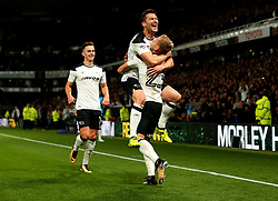Matej Vydra of Derby County celebrates with David Nugent of Derby County after scoring a goal to make it 1-0 - Mandatory by-line: Robbie Stephenson/JMP - 08/09/2017 - FOOTBALL - Pride Park Stadium - Derby, England - Derby County v Hull City - Sky Bet Championship