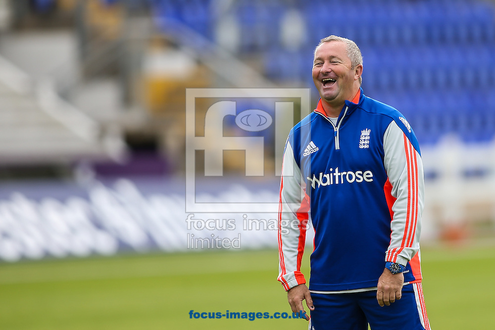 Assistant England head coach Paul Farbrace sees the funny side of things during the England Cricket Practice before the first Test Match of the Investec Ashes Series at Sophia Gardens, Cardiff<br /> Picture by Andy Kearns/Focus Images Ltd 0781 864 4264<br /> 07/07/2015