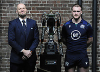 Rugby Union - 2020 Guinness Six Nations Launch Press Conference - Tobacco Dock, London<br /> <br /> Scotland coach Gregor Townsend and Captain, Stuart Hogg with the trophy<br /> <br /> COLORSPORT/ANDREW COWIE