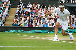 LONDON, ENGLAND - Monday, July 4, 2016:  Roger Federer (SUI) during the Gentlemen's Single 4th Round match on day eight of the Wimbledon Lawn Tennis Championships at the All England Lawn Tennis and Croquet Club. (Pic by Kirsten Holst/Propaganda)