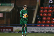 York City goalkeeper Scott Flinders  during the Sky Bet League 2 match between York City and Exeter City at Bootham Crescent, York, England on 16 February 2016. Photo by Simon Davies.
