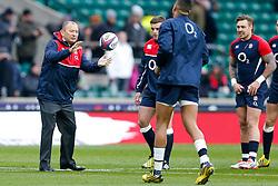 England Head Coach Eddie Jones gets involved with the backs warmup - Mandatory byline: Rogan Thomson/JMP - 27/02/2016 - RUGBY UNION - Twickenham Stadium - London, England - England v Ireland - RBS 6 Nations 2016.