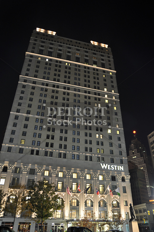 The Westin Book Cadillac Detroit is a remodeled upscale high-rise hotel in downtown Detroit, Michigan built in the Neo-Renaissance style. Built as the Book-Cadillac, it embodies Neo-Classical elements and building sculpture, incorporating brick and limestone. Among its notable features are the statues of General Anthony Wayne, Antoine Laumet de La Mothe, sieur de Cadillac, Chief Pontiac and Robert Navarre along the ornate Michigan Avenue facade and the three copper terraces that top the building. The hotel is 31 stories tall, and includes exclusive 67 luxury condominiums and penthouses on the top eight floors. It reopened in October 2008 after completing a 180-million dollar renovation.