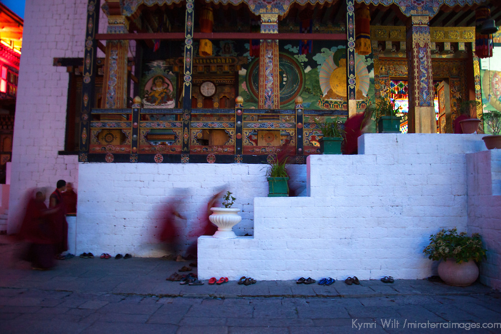 Asia, Bhutan, Thimpu. Monks at Tashichhoedzong.