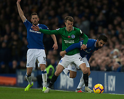 Solly March of Brighton and Hove Albion (C) and Andre Gomes of Everton in action - Mandatory by-line: Jack Phillips/JMP - 03/11/2018 - FOOTBALL - Goodison Park - Liverpool, England - Everton v Brighton and Hove Albion - English Premier League