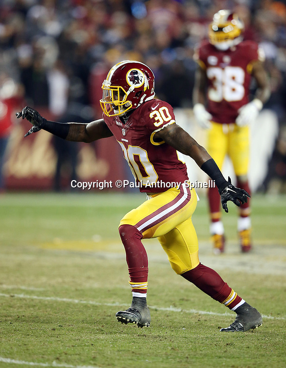 Washington Redskins strong safety Kyshoen Jarrett (30) chases the action during the 2015 week 13 regular season NFL football game against the Dallas Cowboys on Monday, Dec. 7, 2015 in Landover, Md. The Cowboys won the game 19-16. (©Paul Anthony Spinelli)