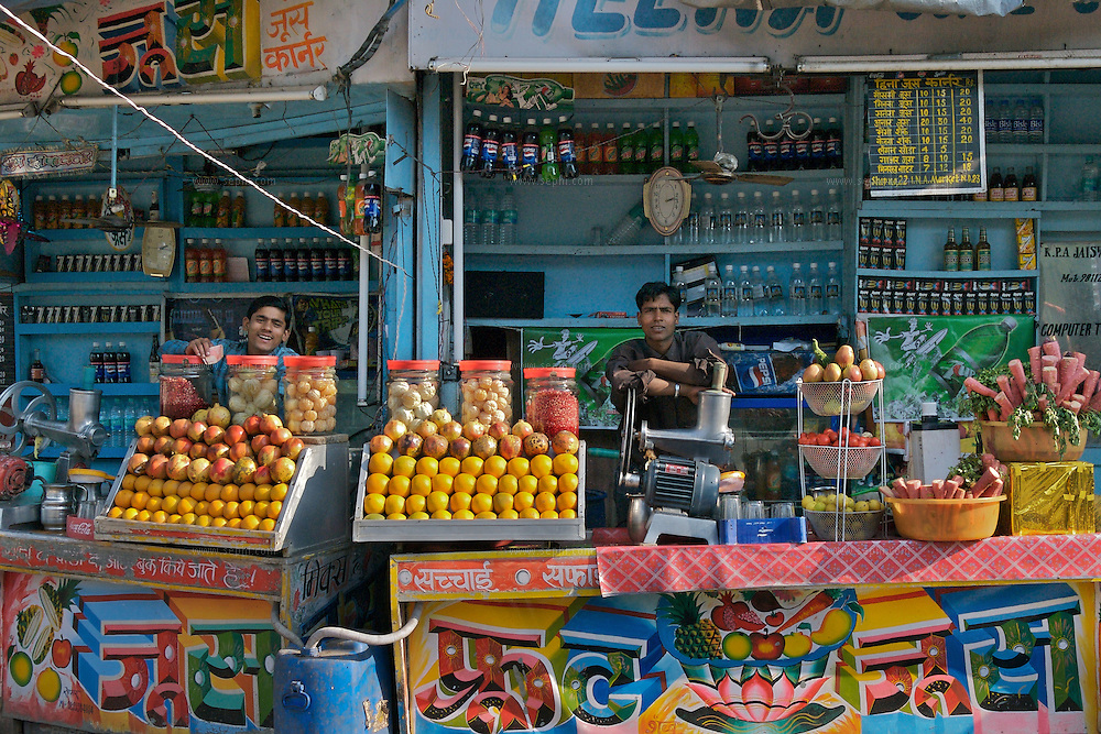 A juice stall at INA market in central Delhi, December 2006