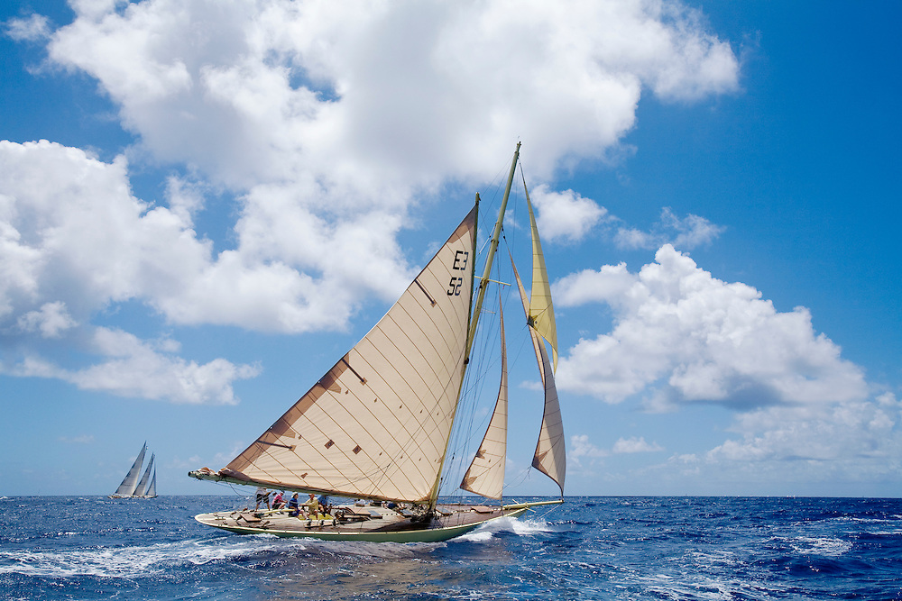 The gaff rigged cutter whose name is SY Kate during the 2008 Antigua Classic Yacht Regatta . This race is one of the worlds most prestigious traditional yacht races. It takes place annually off the costa of Antigua in the British West Indies.