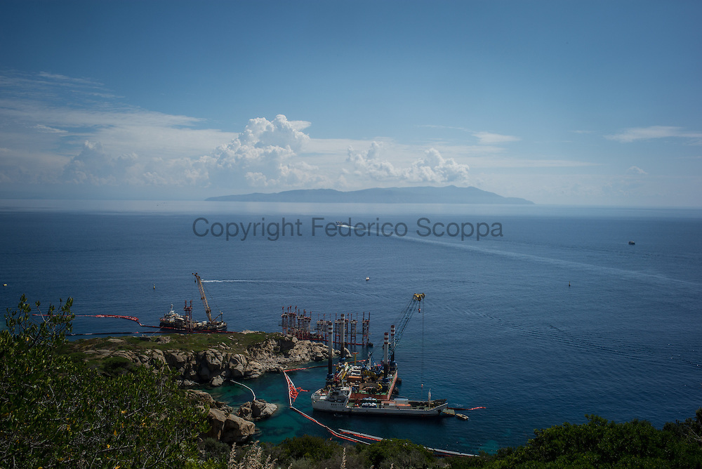 The spot where the Costa Concordia wreck stayed for about 900 days, now empty