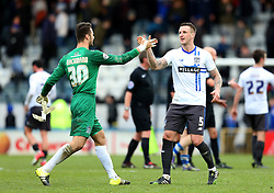 Peter Clarke of Bury celebrates with goalkeeper Daniel Bachmann of Bury at full time - Mandatory byline: Matt McNulty/JMP - 06/12/2015 - Football - Spotland Stadium - Rochdale, England - Rochdale v Bury - FA Cup