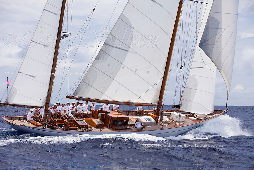 Mariella sailing in the Cannon Race at the Antigua Classic Yacht Regatta.