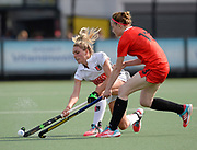 Krylatskoye's Iuliia Sartakova(R) challenges with Amsterdam's Jacky Schoenaker during their opening game of the EHCC 2017 at Den Bosch HC, The Netherlands, 2nd June 2017
