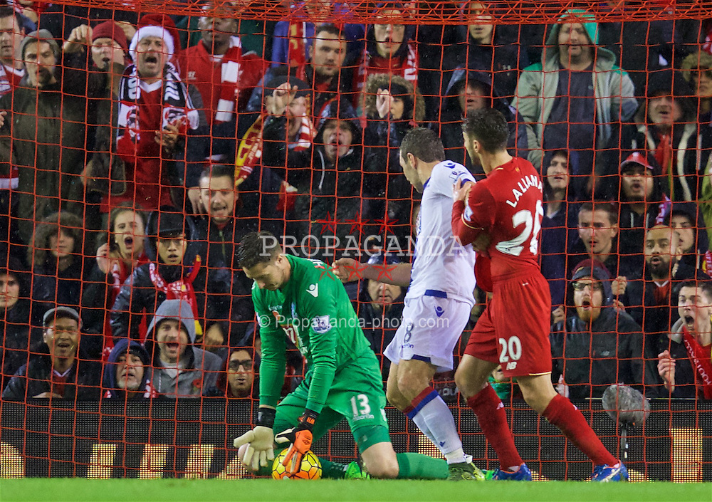 LIVERPOOL, ENGLAND - Sunday, November 8, 2015: Crystal Palace's goalkeeper Wayne Hennessey makes a save during the Premier League match against Liverpool at Anfield. (Pic by David Rawcliffe/Propaganda)