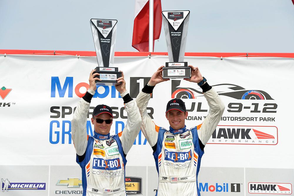 10-12 July 2015, Bowmanville, Ontario Canada<br /> 54, Chevrolet, ORECA FLM09, PC, Jon Bennett, Colin Braun on the podium in victory lane<br /> &copy;2015 Scott R LePage <br /> LAT Photo USA