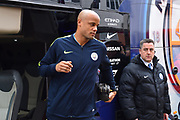 Vincent Kompany (4) of Manchester City gets off the team bus on arrival at the Viatlity Stadium before the Premier League match between Bournemouth and Manchester City at the Vitality Stadium, Bournemouth, England on 2 March 2019.